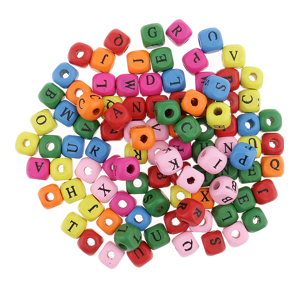 100 Pieces Multicolor White Wooden Alphabet Letters Cube Beads For Kids DIY Crafts 10mm