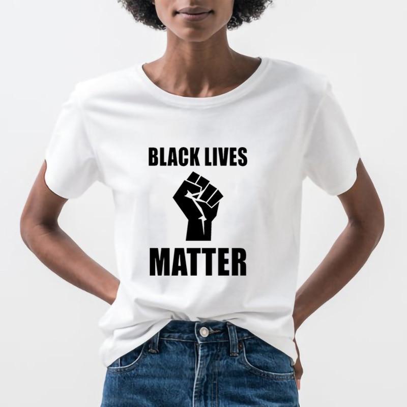 Черная футболка с надписью Lives Matter, свободная футболка с коротким рукавом и круглым вырезом, летняя женская футболка 2020, топы, Camisetas Mujer|Футболки|   | АлиЭкспресс