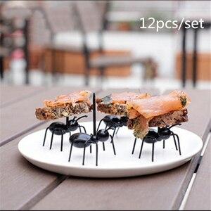 Кухонные гаджеты 12 шт., мини-вилка для фруктов в форме муравья, столовые приборы, пластиковый держатель для фруктового торта, кухонный бар, д...