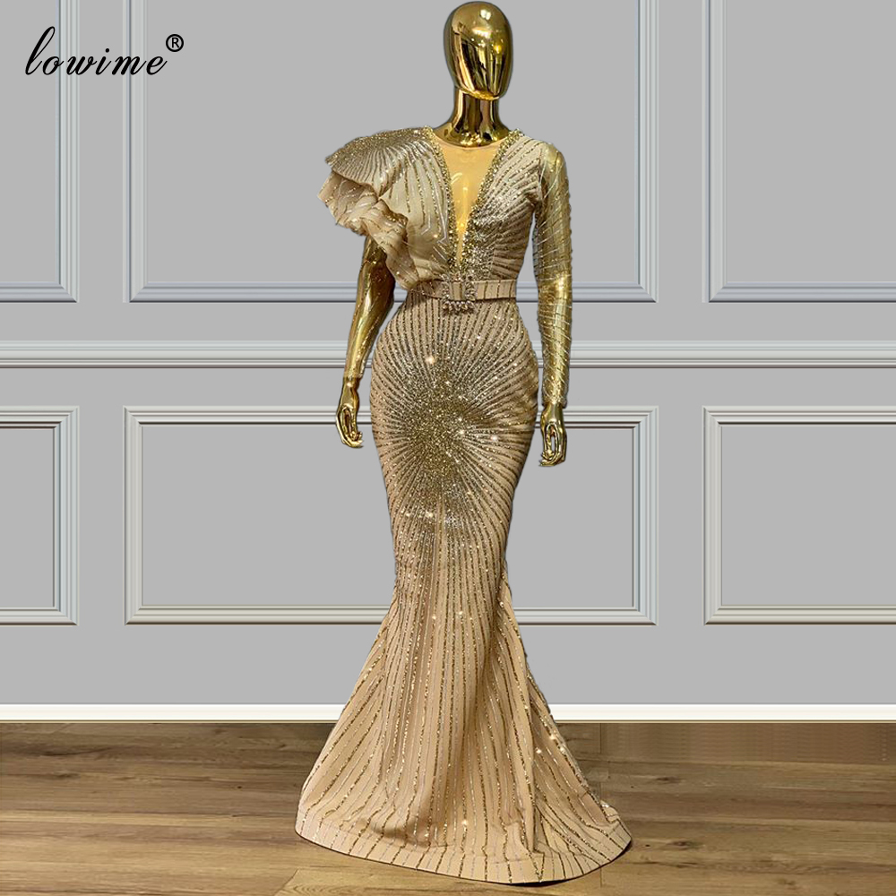 2020 Plus Size Dubai Evening Dresses Mermaid Gold Glitter Robe De Soiree Formal Prom Gowns Party Arabic Couture Vestidos