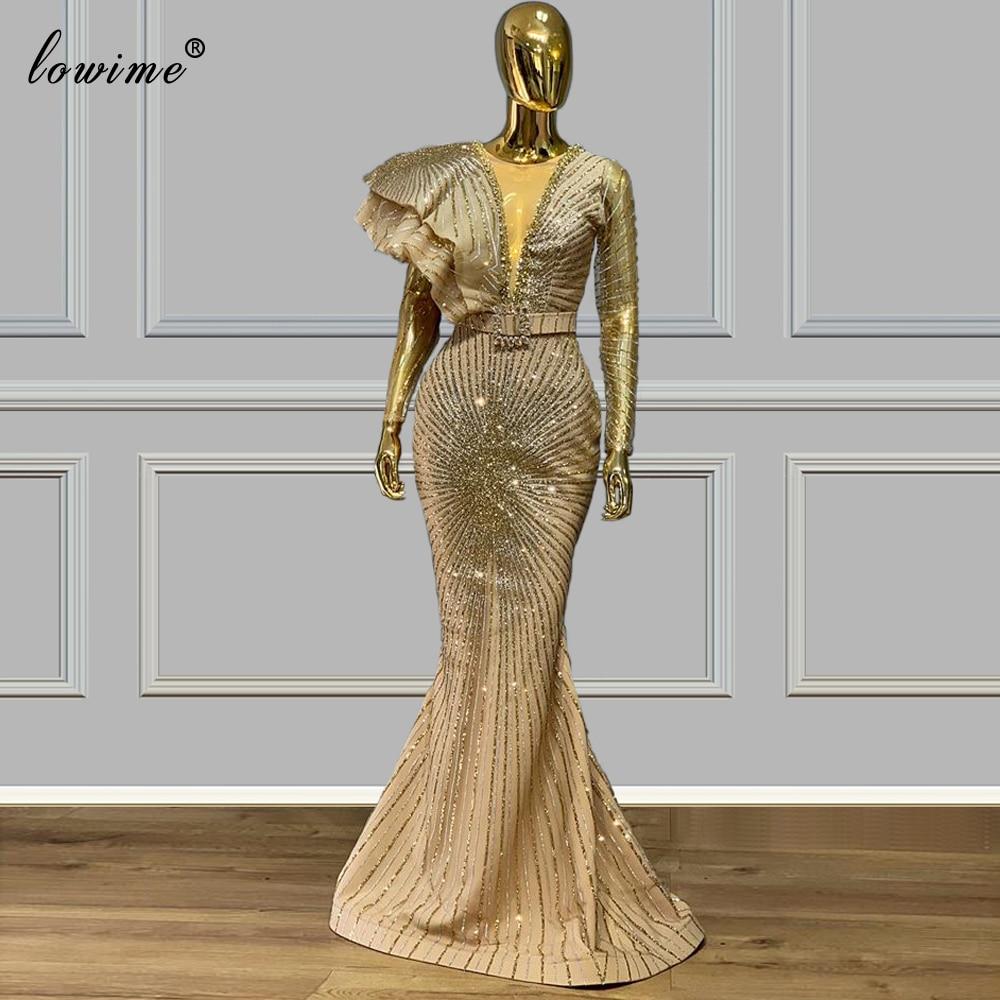2020 Plus Size Dubai Evening Dresses Mermaid Gold Glitter Robe De Soiree Formal Prom Gowns Party Arabic Couture Vestidos