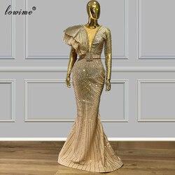 Vestidos De Noche De talla grande Dubai 2020, bata brillo De sirena dorado, Vestidos formales De graduación para fiesta, Vestidos De alta costura árabe