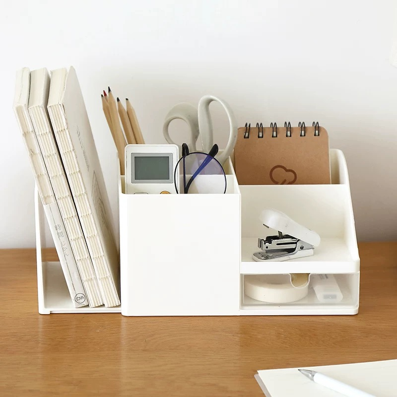 2020 Desk Office Supplies Storage Rack Sharkbang Abs Desktop Pencil Debris Badge Box Stationery Office Supplies Shelf Artifact