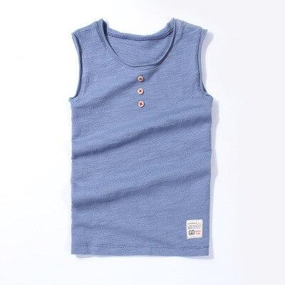 VIDMID New Baby Children vests summer boys Girls tanks sleeveless t-shirt Cotton solid tanks kids boys  beach clothes 7010 07 6