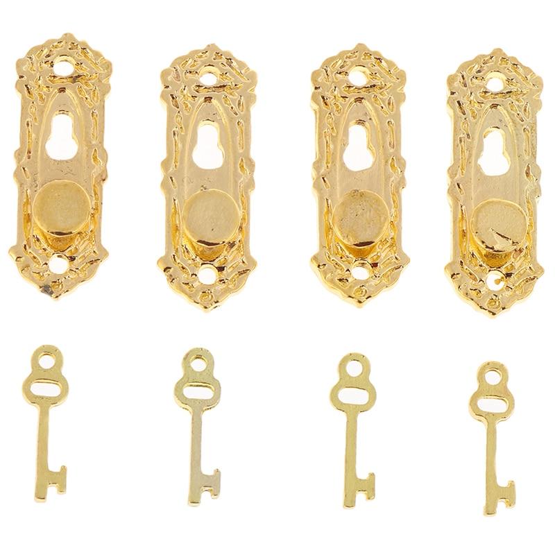 4 Set Metal Vintage Dollhouse Miniature Door Mini Pull Handles Locks With Key 1/12 Scale Furniture Accessories Kids Toys