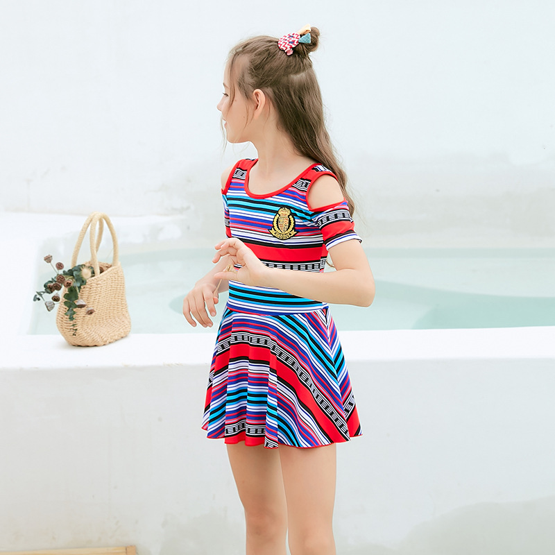 College England Children Dress-Bathing Suit Students Stripes Big Kid Swimwear High-waisted Conservative Hot Springs-