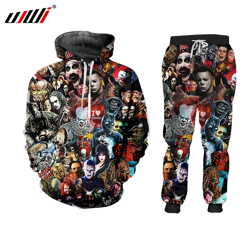 UJWI 3D Print Suits Men Sets Skull Horror Mask Film Clown Funny Harajuku Winter Unisex 3d Tracksuit Jacket Sweatsuit ZIP Hoodies