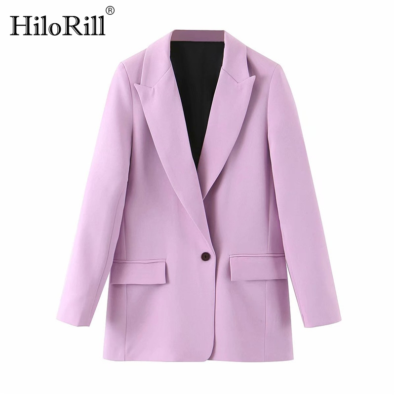 Women Fashion Office Wear Suit Blazer 2020 Solid Casual Single Breasted Coat Jacket Long Sleeve Notched Collar Pockets Blazers
