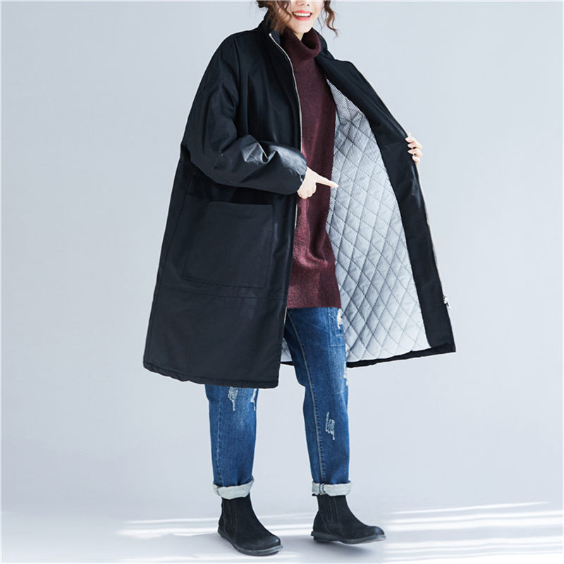 Large Size Cotton Clothing Femme Winter Pockets Loose Warm Women's   Parka   Jacket Casual Long Section Zipper Windbreaker f1494