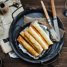 Nordic Retro Distressed Metal Plate Vintage Dinner Plate Round Serving Tray With Handle For Kitchen Restaurant Home Decoration