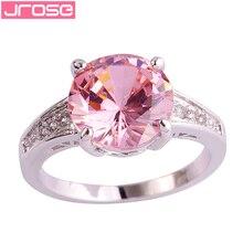 JROSE 10*10 мм круглая огранка розовый и белый CZ Серебряное кольцо Размер 6 7 8 9 10 11 12 13 для женщин леди ювелирные изделия Прямая поставка