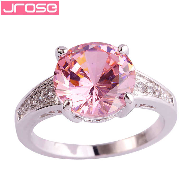 JROSE Wholesale 10*10 mm Round Cut Pink & White CZ Silver Ring Size 6 7 8 9 10 11 12 13 For Women Lady Jewelry Drop Shipping