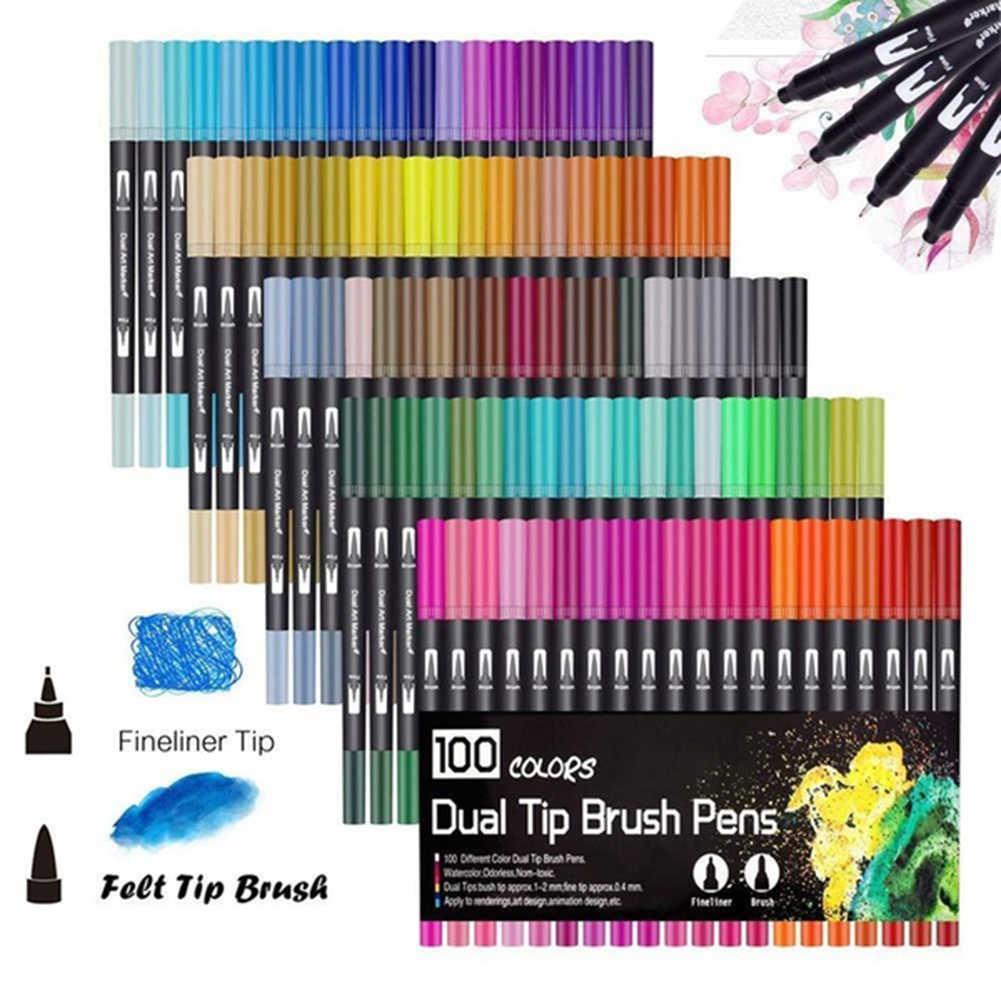 Hot 60/100 Màu Sắc Đôi Bàn Chải Nghệ Thuật Đánh Dấu Bút Mỹ Đầu Cho Viên Đạn Tạp Chí Người Lớn Tô Màu Thư Pháp Chữ