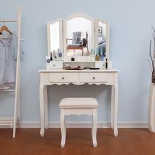 Европейский стиль, спальня, женский макияж, комоды, МДФ, доска, белый цвет, туалетный столик, табурет, 3 штуки, зеркальный комод со стулом, набор HWC