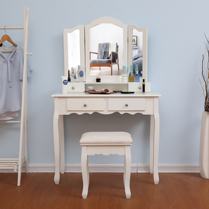 Europe Style Bedroom Woman Makeup Dressers MDF Board White Color Dressing Table Stool 3 Pieces Mirror Dresser with Chair Set HWC(China)