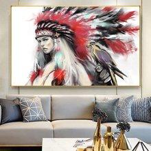 Акварельные картины на холсте индейская девушка стену с попугаем