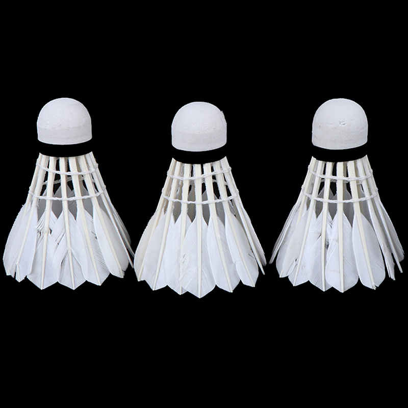 Badminton Shuttlecock White Goose Board Feather Flying Stability Durable Shuttlecock Ball 3Pcs Barrel