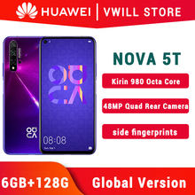 Versão global huawei nova 5t mobilephone 6.26 polegada kirin 980 octa núcleo 6gb 128gb android 9 impressão digital id google play