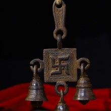 Asian Antique Art Tibetan Tantric Buddhism Handmade Pure Copper Wind chimes Bell  From Old Temple
