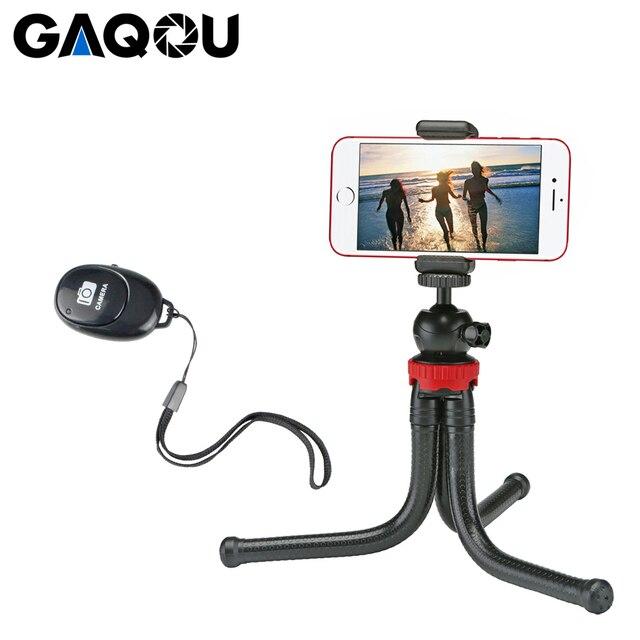 GAQOU Portable Flexible Tripod Octopus Mobile Phone Mini Tripod Bracket with Remote Control Selfie Stick For iPhone XS Huawei