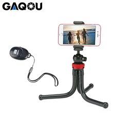 Tripé portátil gaqou com mini tripé, flexível, para celular, com suporte para controle remoto e selfie, para iphone xs, huawei