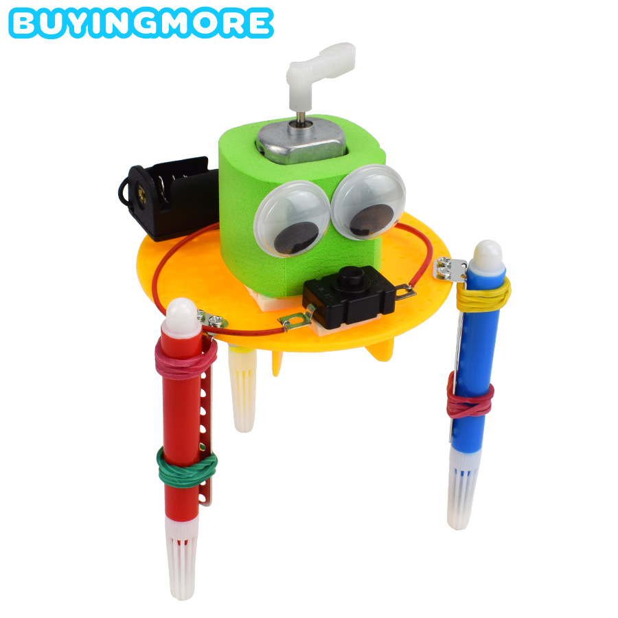 DIY Kits Graffiti Robot Model Science Toys For Children Make Vibration Graffiti Novelty Educational Toys Assembling Model Kits