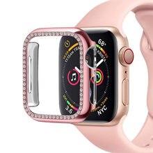 Чехол для apple watch band 5 4 3 44 мм 40 мм iwatch band 42 мм 38 мм, шикарная Алмазная защита экрана, бампер