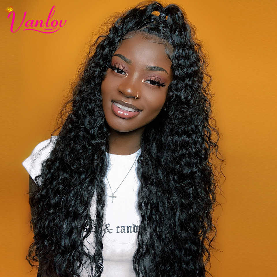 Vanlov 13x4 Brazilian Water Wave Lace Front Human Hair Wigs Pre Plucked Front Lace Wig With Baby Hair Natural Hairline Remyhair