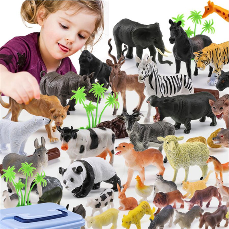 44pcs Wild Jungle Zoo Farm Animal Series Jaguar Collectible Model Kids Toy Early Learning Cognitive Toys Christmas Gifts image