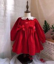 Vestido de princesa Vintage turco para niñas, otoño, invierno, terciopelo rojo, manga larga, navidad, cumpleaños, informal, 0 7 años