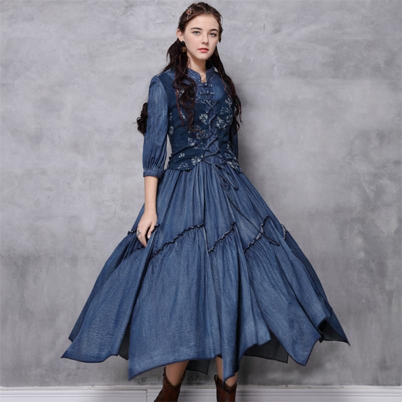 Women Cotton Dress 2020 Spring Denim Women's Dresses Stand Collar Floral Half Sleeve Dress 82199 Vintage Embroidery Vestidos