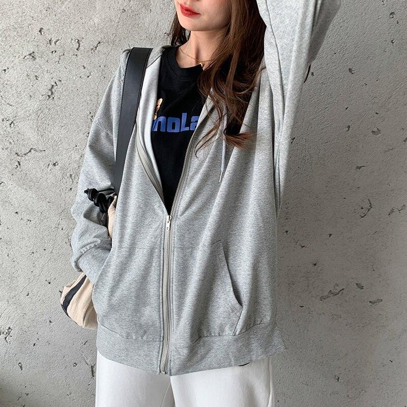 Harajuku Korean version loose thin long-sleeved hooded sun protection coat solid color retro shirt student girl top 5