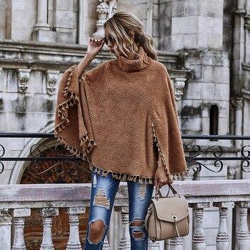 Fashion High Neck Cape Poncho Women Winter Knitted Tassel Solid Capes Shawl Coat Ponchos jacket Elegant Cloak