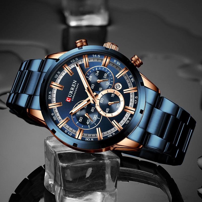 Image 4 - CURREN Men Watch Top Brand Luxury Sports Quartz Mens Watches Full Steel Waterproof Chronograph Wristwatch Men Relogio Masculino-in Quartz Watches from Watches