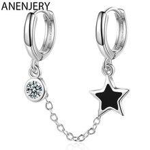 ANENJERY podwójne dziurki w uchu kolczyki w kształcie obręczy cyrkon Glaze gwiezdny frędzel kolczyki z łańcuszka dla kobiet kolor srebrny S-E1056
