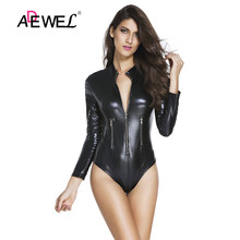 ADEWEL Sexy Ladies Bodysuit Teddies Jumpsuit Nightwear Zipper Tight Bodysuit Black Leathery Long Sleeve Zip Detail Bodysuit недорого