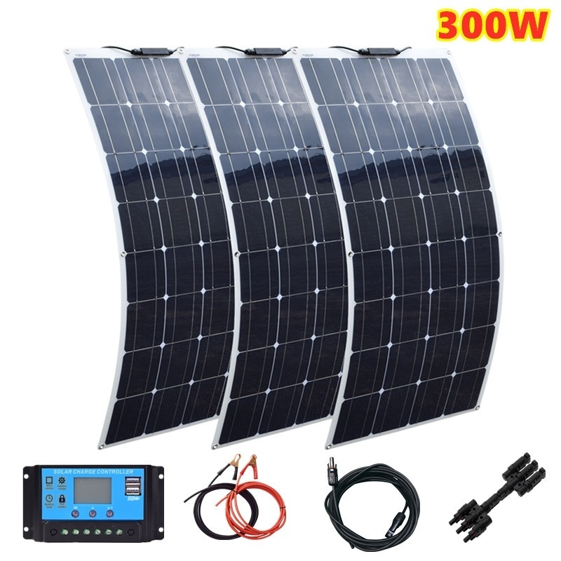 New 3x 100W 300W Monocrystalline Solar Panel Flexible for Camping & RV & Boat & Home Solar Accessories Optional image