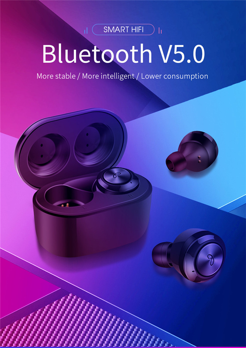 TWS Bluetooth 5.0 Earphones Twins Key Touch Contol Wireless Headset  Headphone Stereo Earbuds