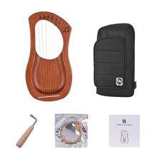 7-String деревянный Лира Арфы металлические струны массив красного дерева струнный инструмент с сумкой для переноски