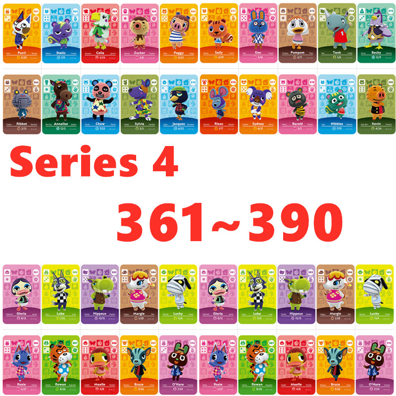 (361 To 390) Series 4  Nfc Amiibo Cards  For Nintend Animal Crossing Card 3ds Animal Crossing Card For NS Games