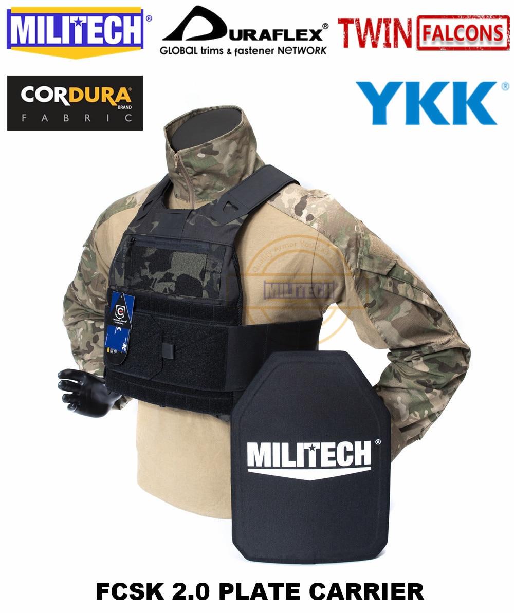 MILITECH TW FCSK 2.0 Multicam Black Advanced Slickster CQC Ferro Plate Carrier Military Combat Tactical Vest Body Armor Carrier