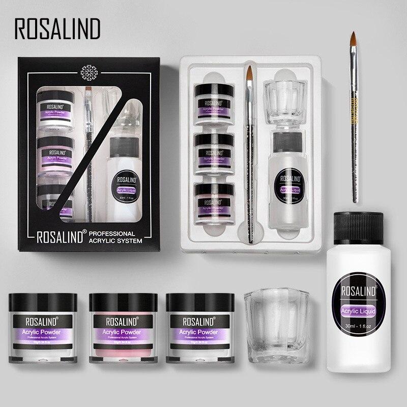 Набор акриловых пудр Rosalind, набор для ногтей, 3 вида цветов, резной гель для дизайна ногтей, набор инструментов для маникюра, акриловый порошо...