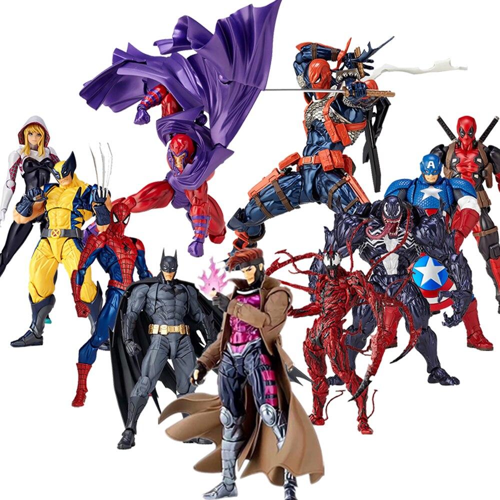 Amazing Yamaguchi Revoltech X-Men Wolverine Deadpool GAMBIT Magneto Batman Captain American Gwen Spider Man Action Figure Toy