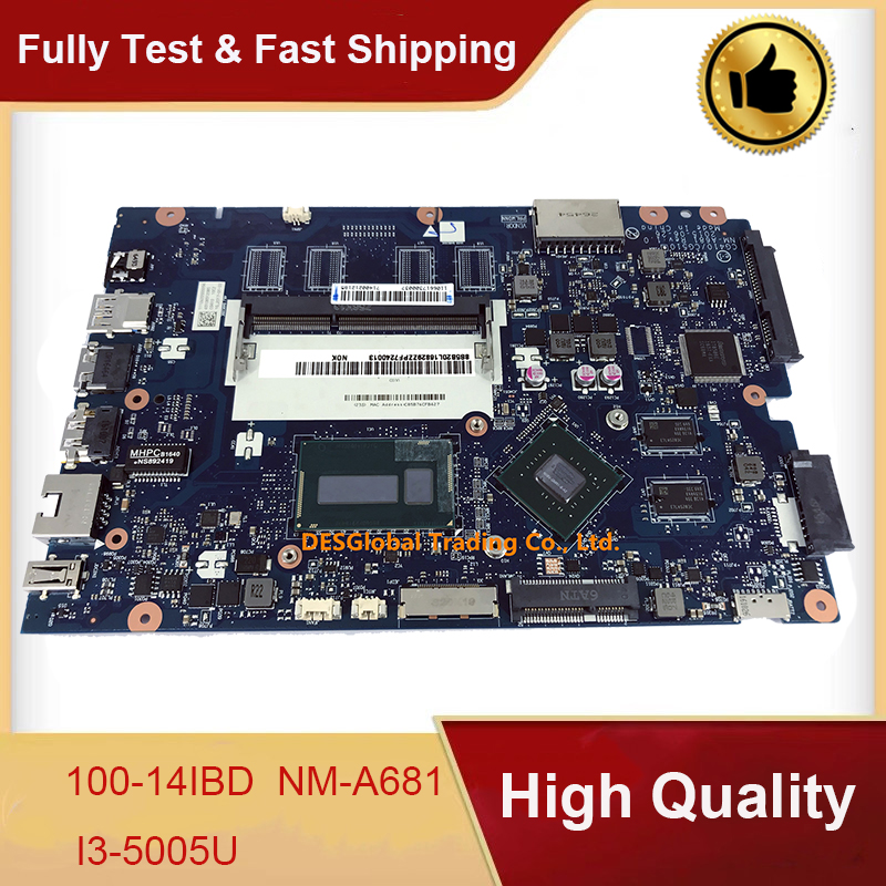 For Lenovo 100-14IBD 100-14IBY 100-15IBY Laptop Motherboard I3-5005U <font><b>SR27G</b></font> CG410/CG510 NM-A681 Mainboard Working Perfectly image