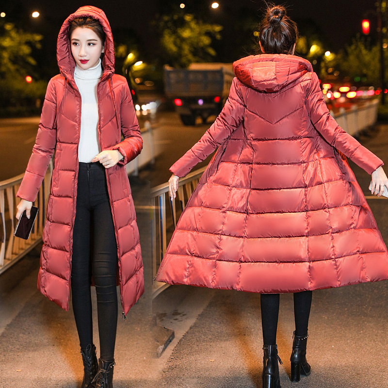 Padded Jacket Outerwear Parkas Hood Women Coat X-Long-Style Female Thicken Plus-Size