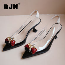 RJN Brand Pumps Fashion Strawberry Decoration Comfortable 5cm High Mules Pumps Thin Heel Pointed Toe Job Party Shoes Woman RO114
