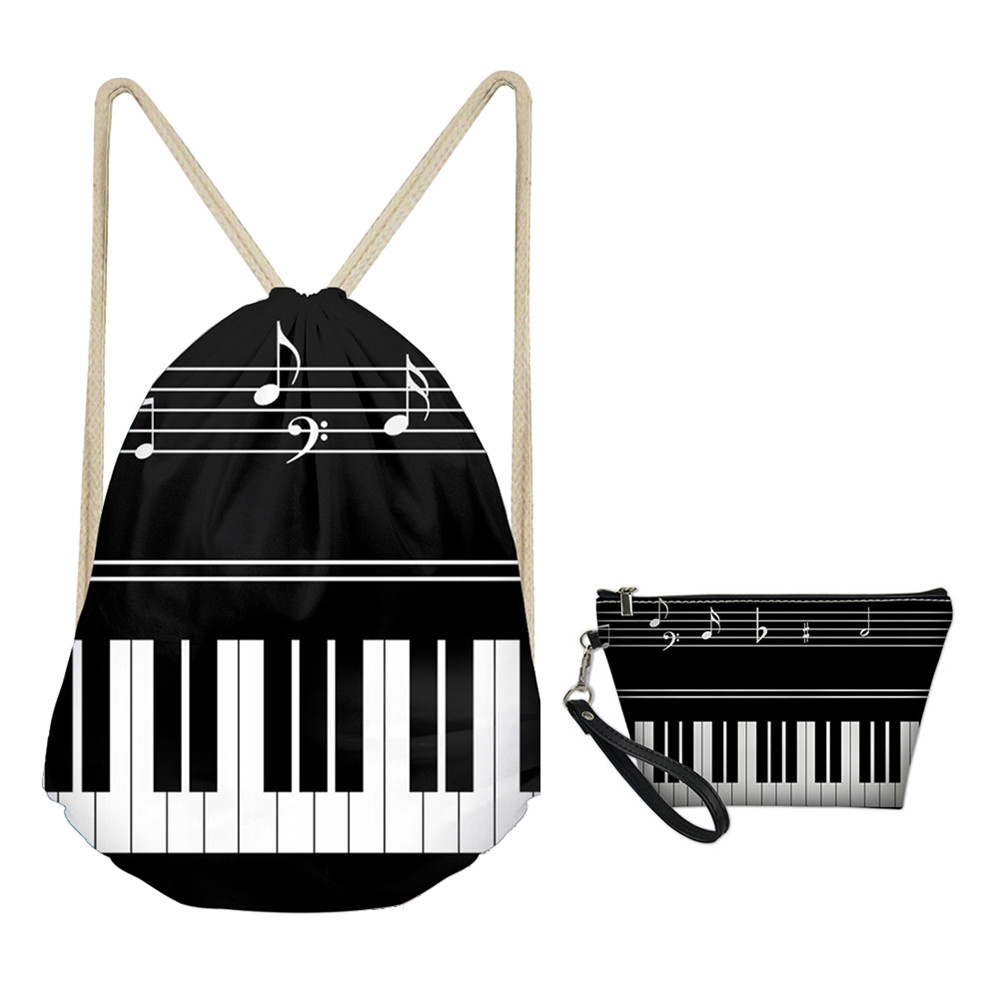 MOZOEYU Piano With Music Note Pattern Travel Drawstring Bag Sets For Men Kids Boys Small Girls Schoolbags Storage Shoes Bags