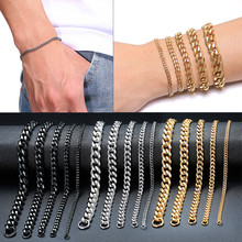 Vnox Mens Einfache 3-11mm Edelstahl Curb Cuban Link Kette Armbänder für Frauen Unisex Handgelenk Schmuck Geschenke