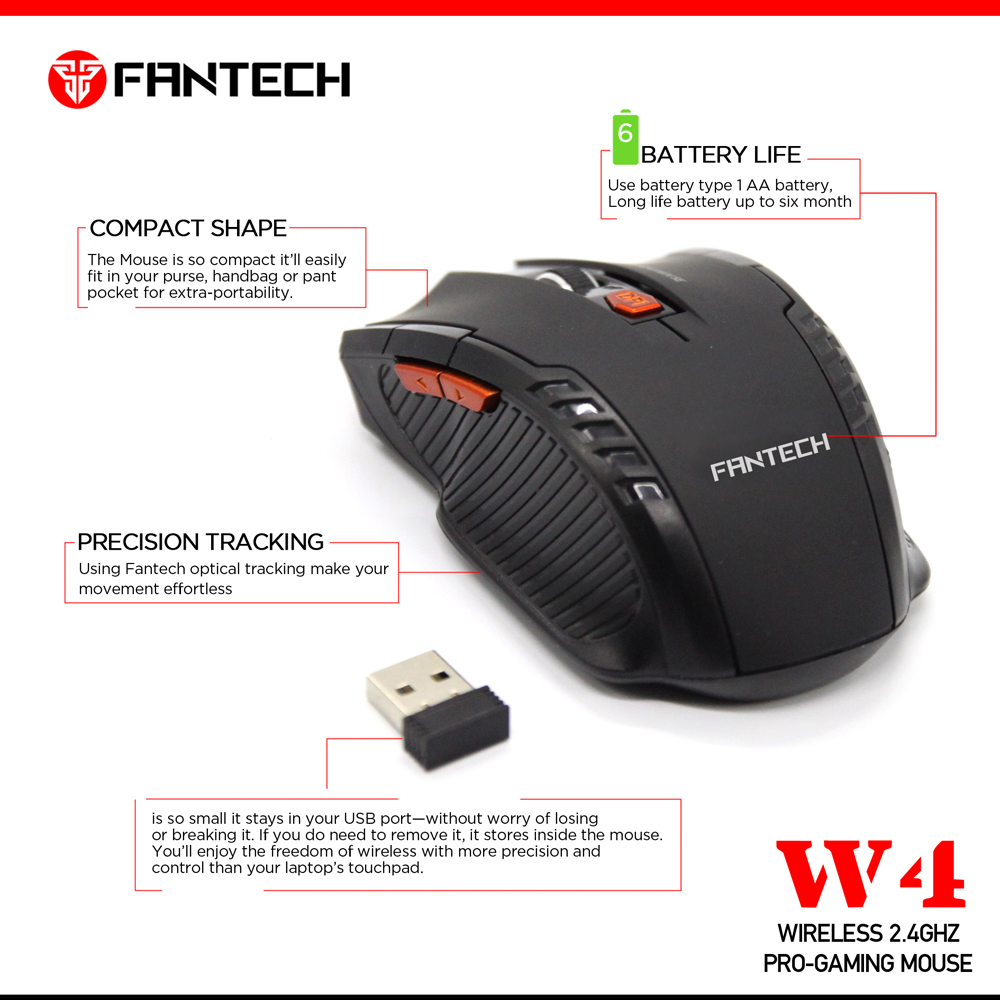 Image 5 - FANTECH W4 2.4GHz Wireless Gaming Mouse Adjustable 2000 DPI 10M Remote Control Optical Computer Mouse 6 Butoons mouse gamer-in Mice from Computer & Office