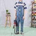 Японский мужской модный простой нагрудник susperdens брюки мужские светло-голубые подтяжки брюки свободные хип хоп джинсы